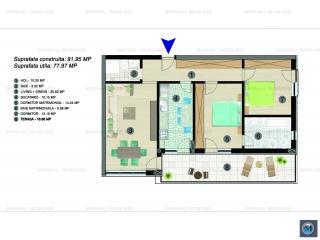 Apartament 3 camere de vanzare, zona Albert, 77.97 mp