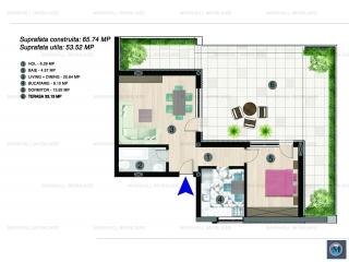 Apartament 2 camere de vanzare, zona Albert, 53.52 mp