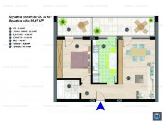Apartament 2 camere de vanzare, zona Albert, 56.67 mp