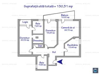 Apartament 3 camere de vanzare, zona Albert, 130.31 mp