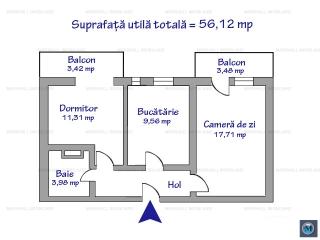 Apartament 2 camere de vanzare, zona Democratiei, 56.12 mp