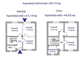 Vila cu 6 camere de vanzare, zona Exterior Nord, 85 mp
