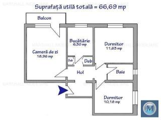 Apartament 3 camere de vanzare, zona Cantacuzino, 66.96 mp