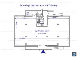 Spatiu comercial de inchiriat, zona Central, 374.5 mp