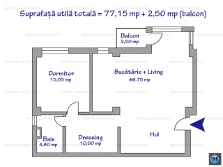 Apartament 2 camere de vanzare, zona Central, 79.65 mp