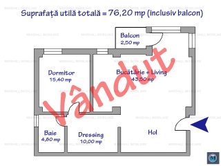 Apartament 2 camere de vanzare, zona Central, 79.65 mp