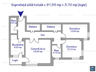 Apartament 3 camere de vanzare, zona Central, 98 mp