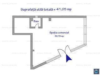 Spatiu comercial de inchiriat, zona Cantacuzino, 41.05 mp