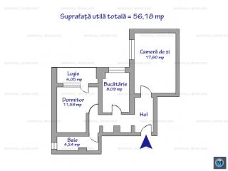 Apartament 2 camere de vanzare, zona B-dul Bucuresti, 56.18 mp