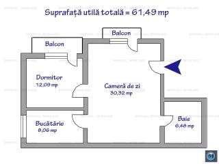 Apartament 2 camere de vanzare, zona Republicii, 61.49 mp