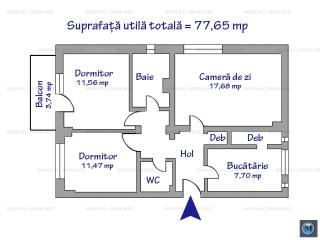 Apartament 3 camere de vanzare, zona Marasesti, 77.65 mp