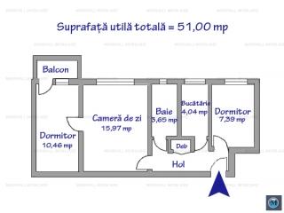 Apartament 3 camere de vanzare, zona Vest - Lamaita, 51 mp