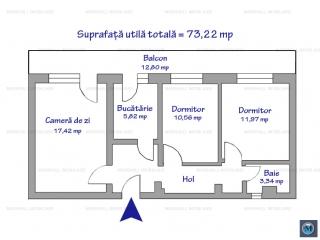 Apartament 3 camere de vanzare, zona Postei - Bucov, 73.22 mp
