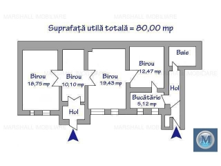 Spatiu  birouri de vanzare, zona Central, 80 mp