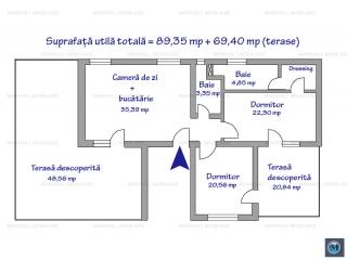 Apartament 3 camere de vanzare, zona Malu Rosu, 89.35 mp