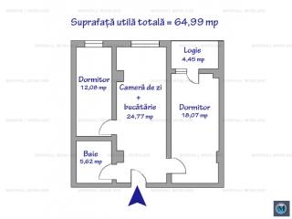 Apartament 3 camere de vanzare, zona 9 Mai, 64.99 mp