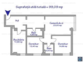 Apartament 3 camere de vanzare, zona 9 Mai, 99.09 mp