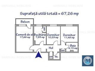 Apartament 3 camere de vanzare, zona Republicii, 67.26 mp