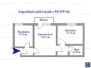 Apartament 2 camere de vanzare, zona Cina, 46.89 mp