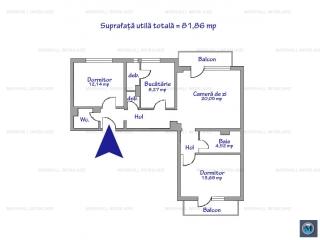 Apartament 3 camere de vanzare, zona Gheorghe Doja, 81.86 mp