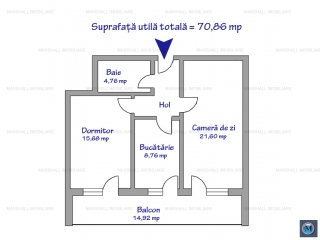 Apartament 2 camere de vanzare, zona Nord, 70.86 mp