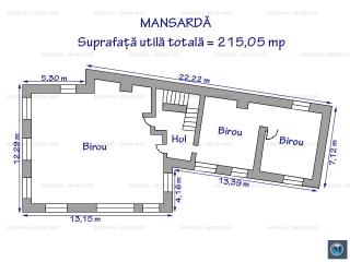 Spatiu  birouri de inchiriat, zona Central, 215,05 mp