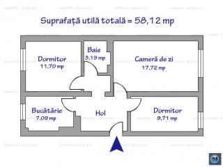 Apartament 3 camere de vanzare, zona Republicii, 58.12 mp