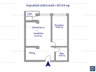 Apartament 2 camere de vanzare, zona Malu Rosu, 60.04 mp