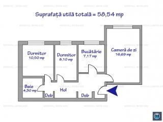 Apartament 3 camere de vanzare, zona Enachita Vacarescu, 58.54 mp