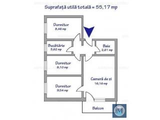 Apartament 4 camere de vanzare, zona Baraolt, 55.17 mp
