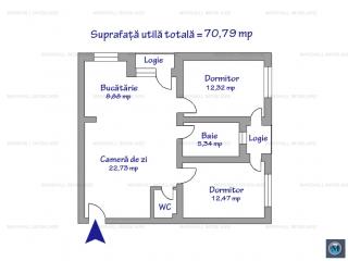 Apartament 3 camere de vanzare, zona P-ta Mihai Viteazu, 70.79 mp