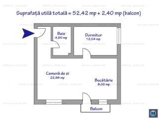 Apartament 2 camere de vanzare, zona P-ta Mihai Viteazu, 52.42 mp
