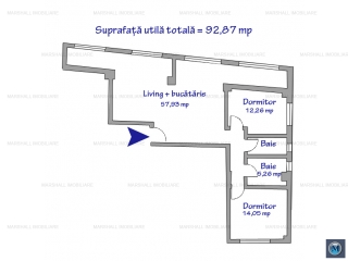 Apartament 3 camere de vanzare, zona 9 Mai, 92.86 mp