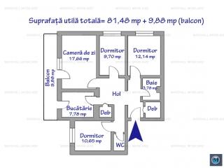 Apartament 4 camere de vanzare, zona Baraolt, 81.48 mp