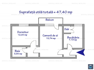 Apartament 2 camere de vanzare, zona Nord, 47.40 mp