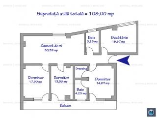 Apartament 4 camere de vanzare, zona 9 Mai, 108 mp