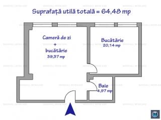 Apartament 2 camere de vanzare, zona Malu Rosu, 64.48 mp