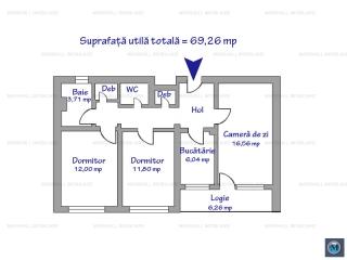 Apartament 3 camere de vanzare, zona Cantacuzino, 69.26 mp