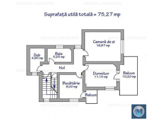 Apartament 2 camere de vanzare, zona Central, 75.27 mp
