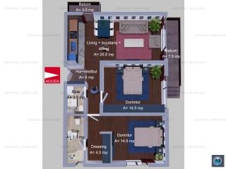Apartament 3 camere de vanzare, zona Albert, 75.5 mp