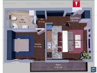 Apartament 2 camere de vanzare, zona Albert, 46 mp