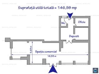 Spatiu comercial de inchiriat, zona Ultracentral, 146.98 mp