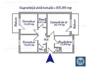Apartament 3 camere de vanzare, zona Mihai Bravu, 83.95 mp