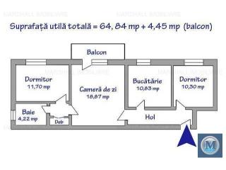 Apartament 3 camere de vanzare, zona Malu Rosu, 69.29 mp