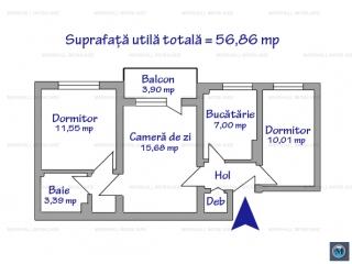 Apartament 3 camere de vanzare, zona Nord, 56.86 mp