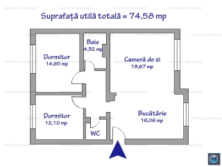 Apartament 3 camere de vanzare, zona Cioceanu, 74.58 mp