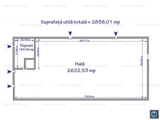 Spatiu industrial de inchiriat, zona Sud, 2622.53 mp
