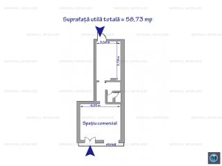 Spatiu comercial de inchiriat, zona Republicii, 58.73 mp