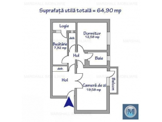 Apartament 2 camere de vanzare, zona Ultracentral, 64.9 mp