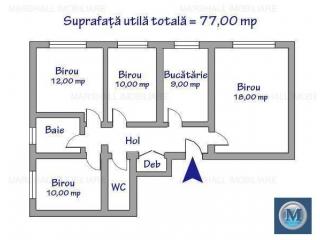 Spatiu  birouri de inchiriat, zona P-ta Mihai Viteazu, 77 mp